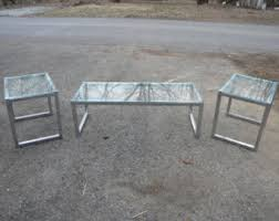 glass coffee and end tables 70s end tables etsy