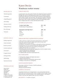 warehouse assistant cv template job description sample stock