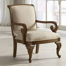 diana distressed wood and beige upholstery accent chair 2x169