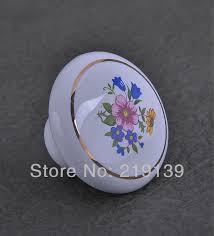 Porcelain Knobs For Kitchen Cabinets Flower Single Hole Ceramic Furniture Kitchen Cabinet Hardware