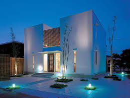 Home Exterior Design Cool Minimalist Home Exterior With Ground Lights Stylendesigns
