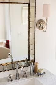 west elm mirror with marble top vanity transitional bathroom