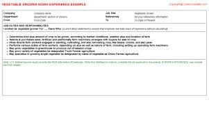 vegetable grower cv work experience