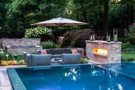 pool landscaping ideas level small rectangular deck and pump pool