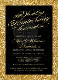 anniversary party invitations 50th wedding anniversary party invitations gold sparkle