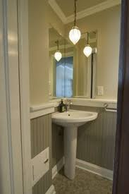 powder room sink small powder room with pedestal sink in the corner and beadboard