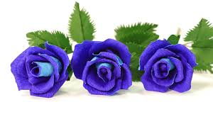 Blue Roses Diy Paper Flowers How To Make Blue Paper Rose Youtube