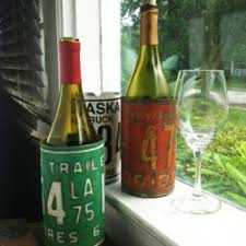 wine bottle plates recycled license plates turned into bottle koozie holders