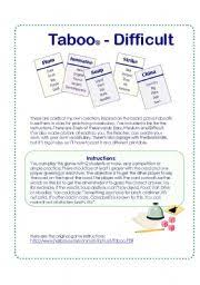game cards inspired on the taboo board game difficult