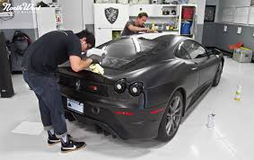 all black ferrari matte black ferrari f430 scuderia with multi layer stripes