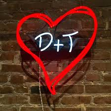 hearts and initials custom neon sign
