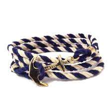 rope bracelet with anchor images Blue and white rope with gold anchor bracelet sharvit jewelry jpg