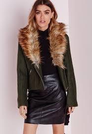 wool biker jacket with faux fur collar khaki missguided