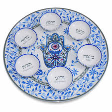 what goes on a seder plate for passover pesach blue hamsa ceramic seder plate