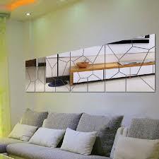 Diy Modern Home Decor 7pcs 3d Irregular Mirror Effect Wall Stickers Art Mural Decal