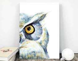printable owl art owl painting etsy