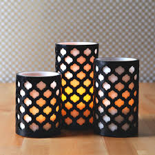 set of three moroccan design flameless led candles