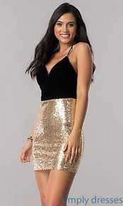 gold party dress homecoming dress with velvet and sequins