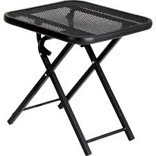 Patio Side Tables Lawn Garden Modern Black Iron Bolted Folding Patio Table Folding