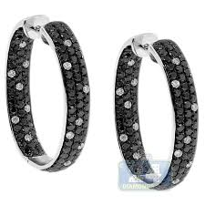 black diamond hoop earrings black diamond oval hoop earrings 14k white gold 5 20 ct