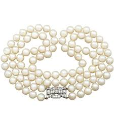 necklace clasps vintage images Vintage triple strand akoya pearl ruby diamond clasp for sale at jpg