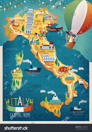 Milan Italy Map Colorful Italy Travel Map Attraction Symbols Stock Vector