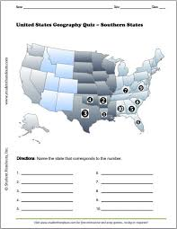 us map quiz pdf southern states map quiz worksheet student handouts