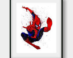 spiderman watercolor print superhero poster peter parker
