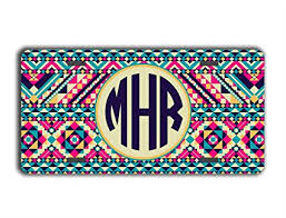 monogrammed plate monogrammed front license plate tribal pattern