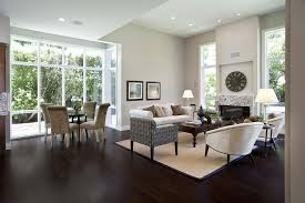 Dark Floor Light Trim Family Room Contemporary With Wood Flooring - Family room lamps
