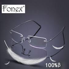 Optical Frame Tagged Glasses Fonex Fonex Brand Titanium Frame Rimless Polarized Sunglasses Light