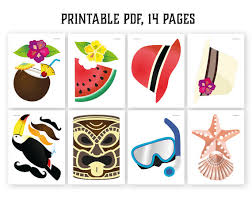 Printable Hawaiian Decorations Hawaiian Photo Booth Props Printable Pdf Luau Photo Booth