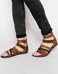 strongly asos gladiator sandals brown leather men 00443 www