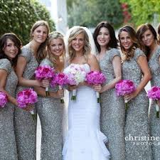 silver sequin bridesmaid dresses event soiree a platinum silver wedding with fuchsia thinking