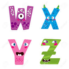 cute halloween alphabet with funny w x y z monster characters