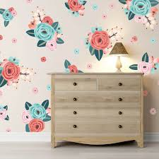 coral graphic flower clusters floral wall decals