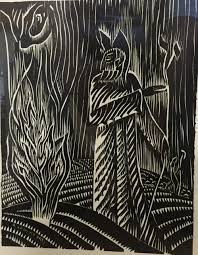 rare 1937 woodcut raymond katz moses and the burning bush