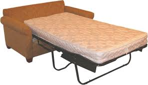 white fold out bed mattress with black metal frame for brown