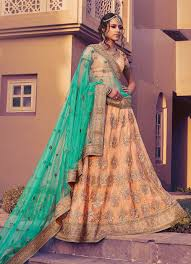 engagement lengha wedding indian lenghas online buy malaysia light orange designer