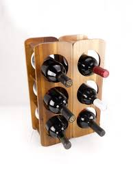 Decorative Wine Racks For Home Acacia 3 Bottle Stackable Wine Rack