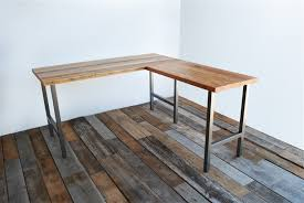 L Shaped Desk Plans Free Reclaimed Wood L Shaped Desk Home Design Ideas