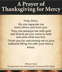 thanksgiving prayer of thanksgivingor mercy holy jesus my sins