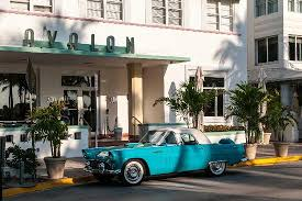 art deco hotel and classic car picture of art deco historic