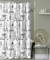 Eiffel Tower Window Curtains by Crest Home Bonjour Paris Eiffel Tower Shower Curtain Teal With