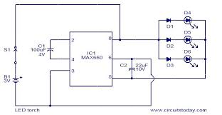 led torch using max660 electronic circuits and diagram