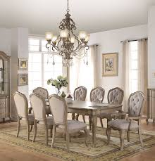 Acme Living Room Furniture by Chelmsford Beige Fabric Antique Taupe Rubberwood 9pc Dining Room