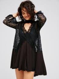 free people secret origins pieced lace tunic in black lyst