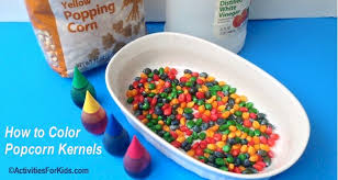 how to color popcorn kernels for crafts activities for kids