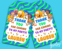 bubble guppies thank you tags bubble guppies birthday favor tags