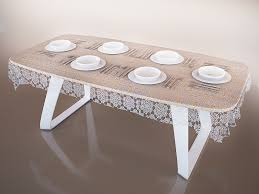 table modern brenta with tablecloth anh service 3d model max